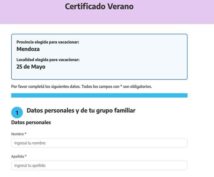 Formulario de Certificado Verano