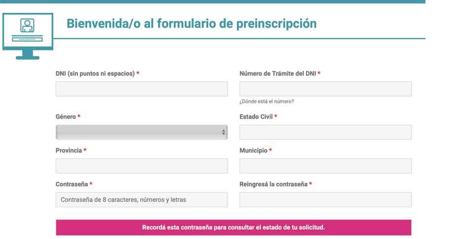 Formulario para registro en Portal Empleo